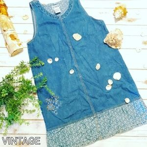 Vintage Floral Embroidered Denim Jumper Dress
